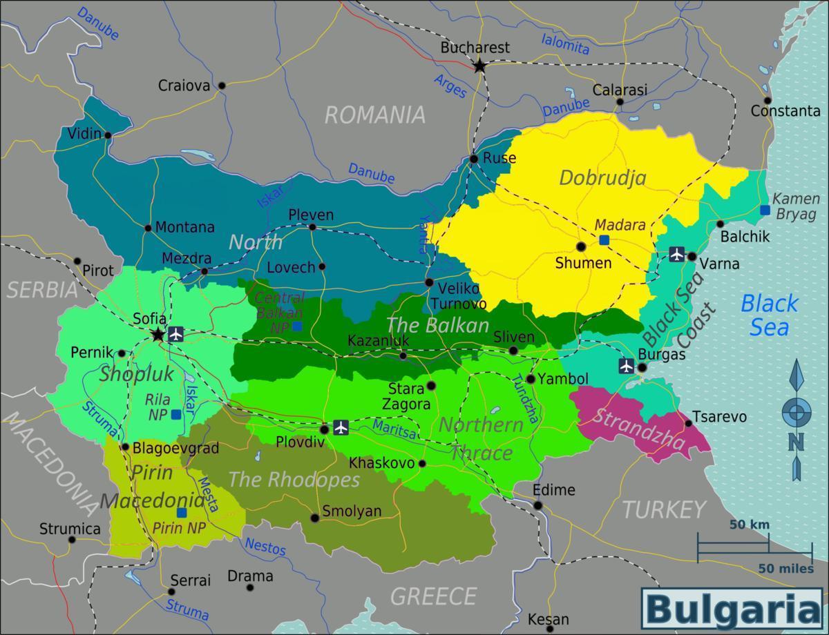 Bulgaria Aeroporturi Hartă Harta De Bulgaria Aeroporturi Europa